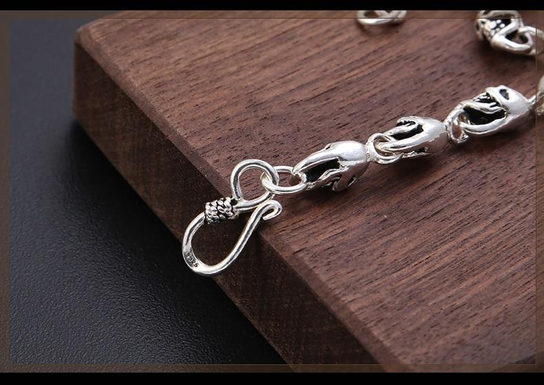 100% hecho a mano de plata 925 collar esqueleto calavera esterlina collar de hombre Hiphop PUNK collar joyería hombre regalo - 5