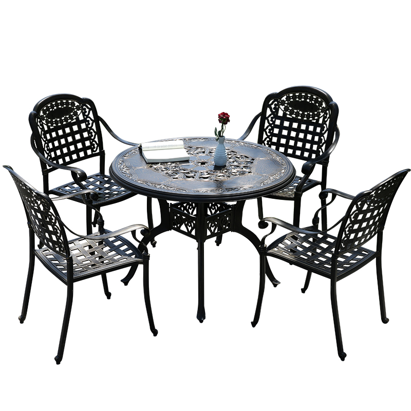 Outdoor Cast Aluminum Table Sunny Day Outdoor Courtyard Leisure Balcony Garden Furniture Villa Tieyi Metal Table And Chair