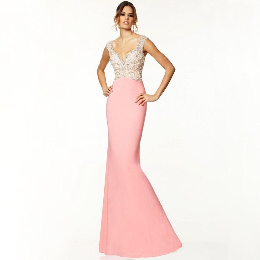 Sexy Chiffon Sweetheart Beading Crystal Spaghetti Straps Aqua Lotus Color Slim Mermaid Vestidos Prom Gown Bridesmaid Dresses