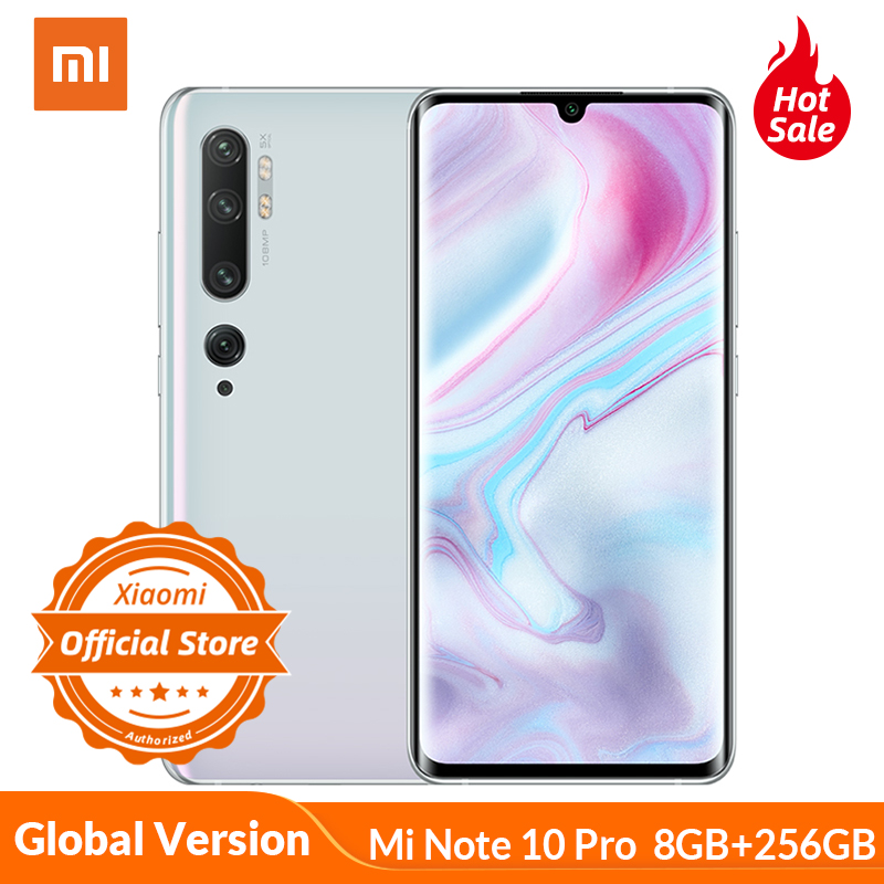 Global Version Xiaomi Mi Note 10 Pro 8GB 256GB Smartphone 108MP Penta Camera 5260mAh 30W Flash Charge Snapdragon 730G AMOLED NFC