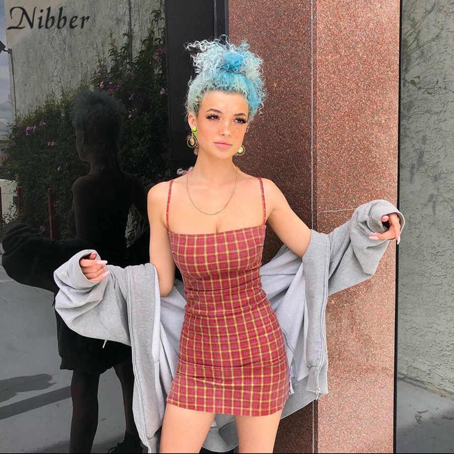 Nibber осеннее Ретро клетчатое свободное платье для женщин 2019 модное уличное повседневное вечернее ночное облегающее мини-платье mujer стрейчевое тонкое платье