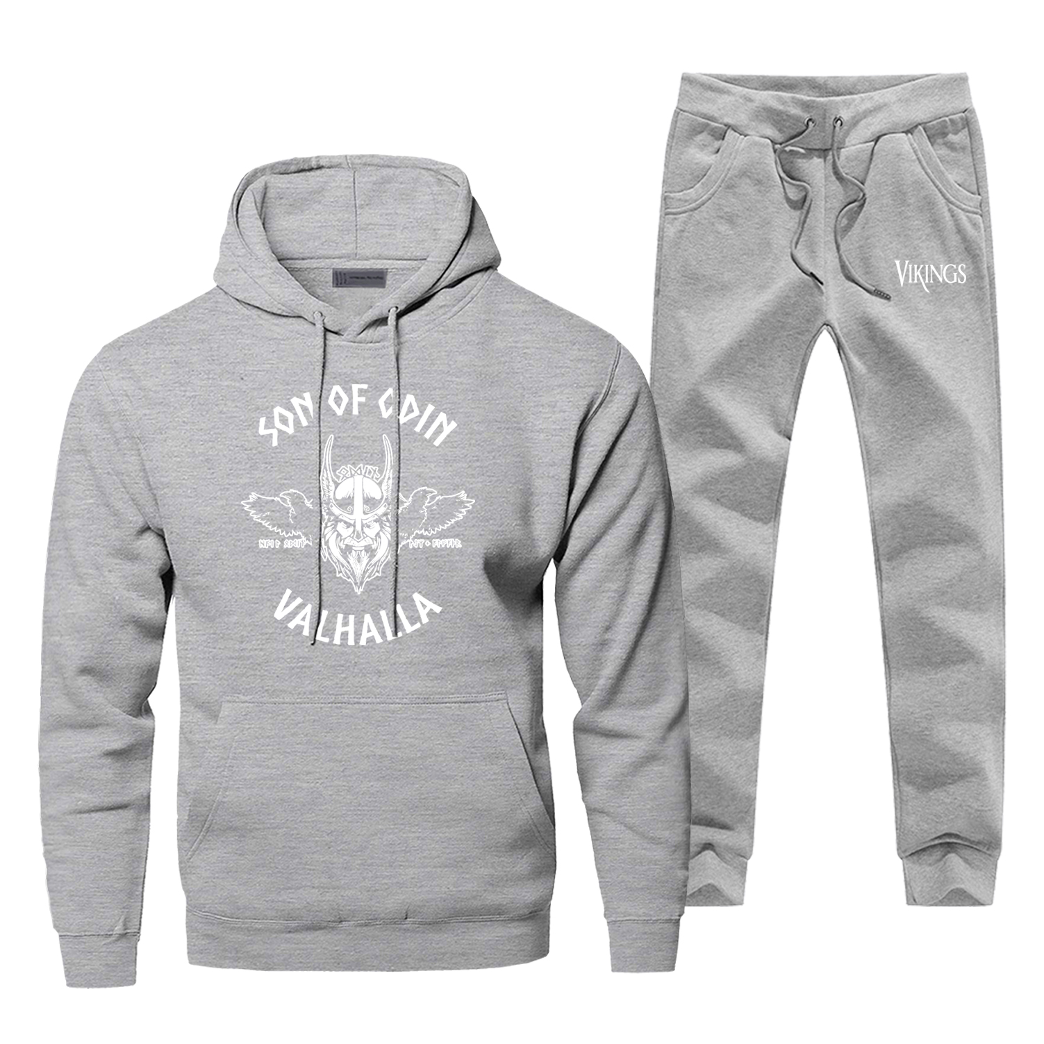 Sons Of Odin The Vikings Men's Full Suit Tracksuit Valhalla TV Show Gray Hoodies Pants Fleece Male Sets Hipster Sportsman Wear
