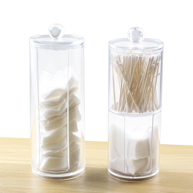 New Cotton Pads Cotton Swab Clear Acrylic Storage Holder Box Transparent Cosmetic Makeup Organizer Case High Quality Hot