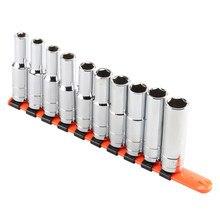 8-17mm conjunto de soquete longo de cabeças acabamento espelho 1/2 Polegada unidade com rack de soquete de plástico para uso chave de soquete alta qualidade
