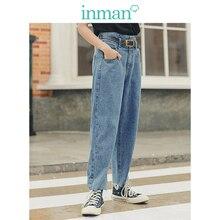 INMAN Frühling Herbst Junge Literarischen Stil Retro Medium Hohe Taille Gerade Casual Frauen Jeans
