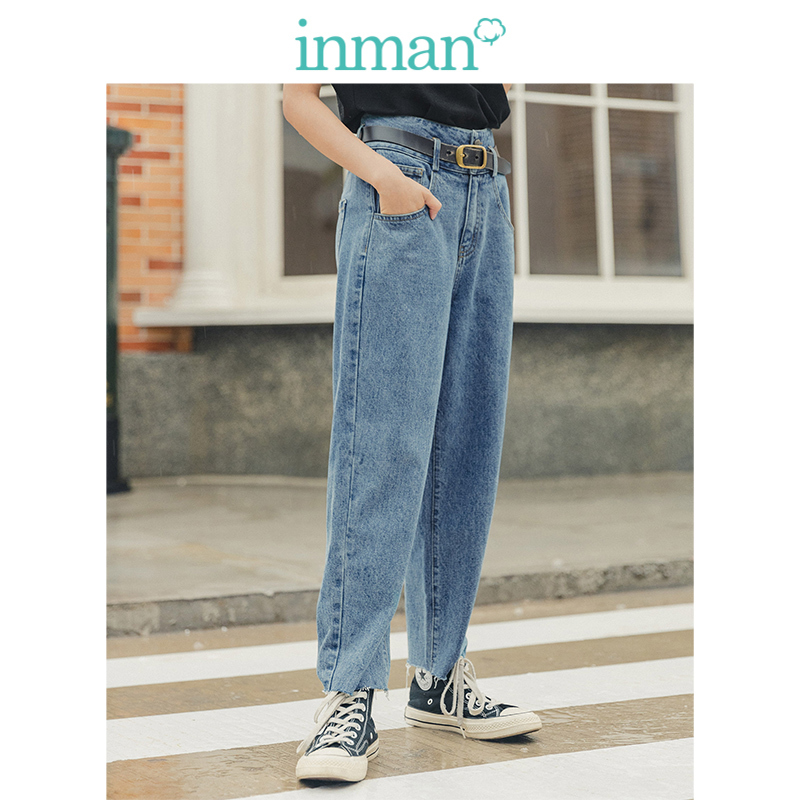 INMAN Spring Autumn Young Literary Style Retro Medium High Waist Straight Casual Women Jeans