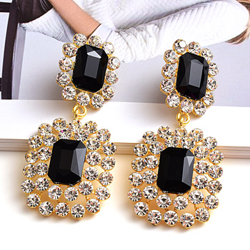 Luxury Crystals High-quality Stone Studded geometric Drop Earrings 1