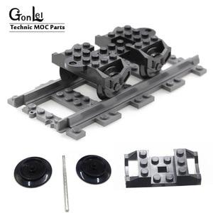 Technic Parts Wheel RC Train, Holder (9V) RC Train, Metal Axle 5 x 100 LDU Bricks Blocks 10254 Train Parts Toys Best DIY Gifts(China)