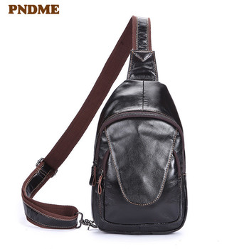 Fashion sports genuine leather men's chest bag retro high-quality natural oil wax cowhide outdoor daily shoulder messenger bags women retro oil wax cow genuine leather bag crossbody chain messenger bags day clutches female purse wallet high quality brand