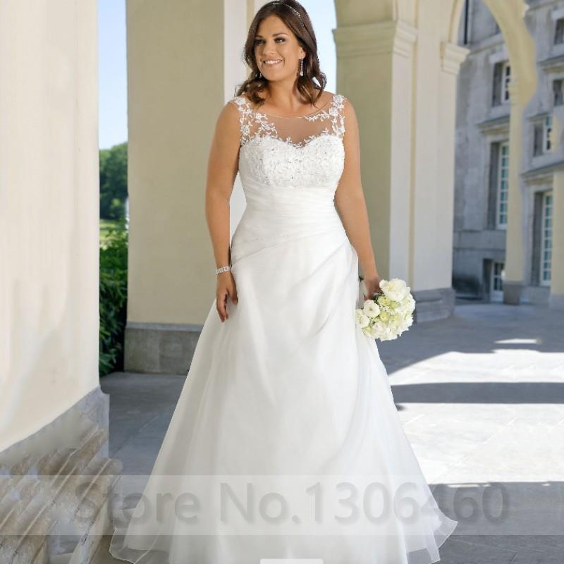 Scoop Neck A-line Plus Size Wedding Dresses With Pleats Hole Back Bridal Gowns Floor Length Big Size WOmen Wedding Dress