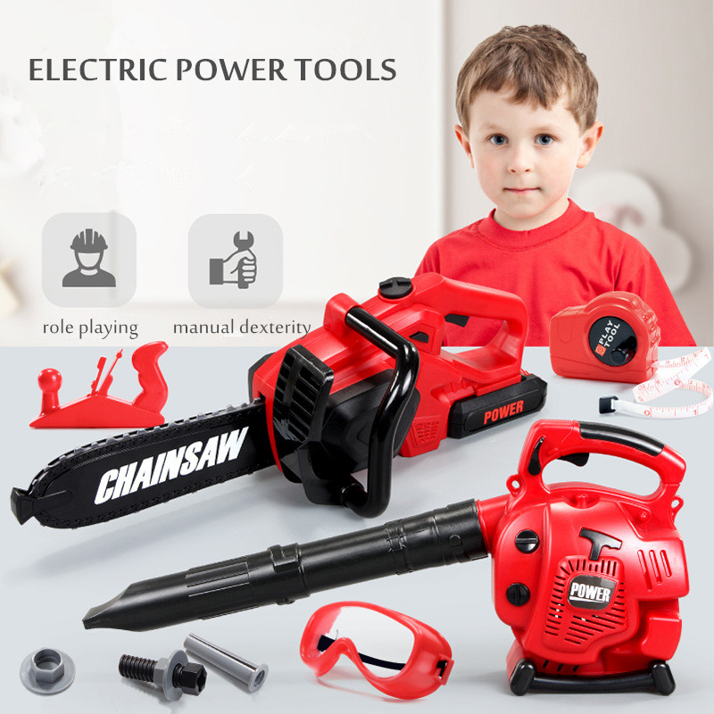 2020 Hot Children Pretend Play Sound Electric Power Tool Toys Garden Tool Toys Power Chainsaw Spin Weeder