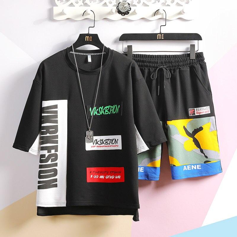 2019 Summer New Style Hong Kong Style Street Leisure Suit Men's Fashion Fashion Printed Middle Sleeve T-shirt Shorts Set Fashion