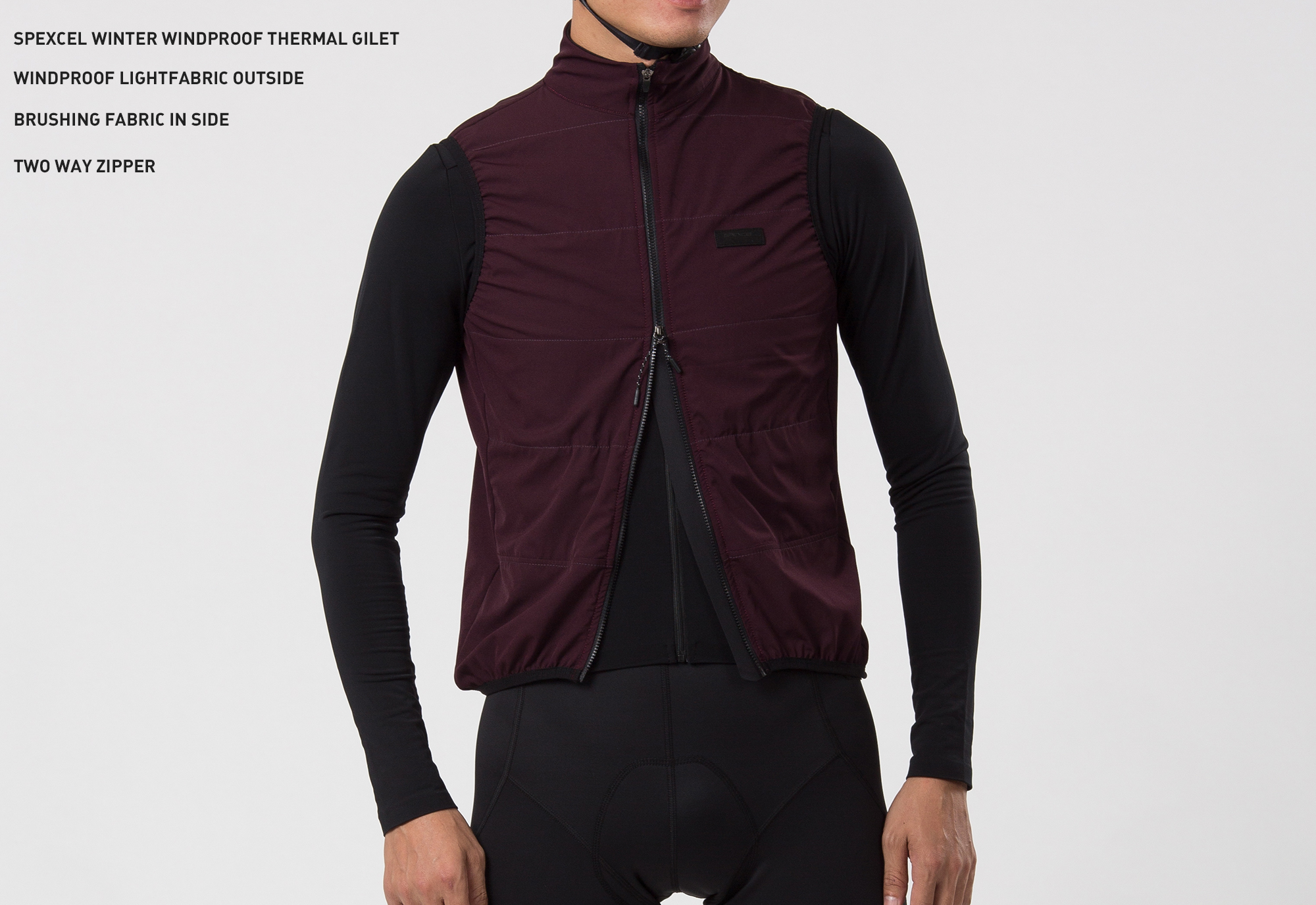 SPEXCEL 2019 New Winter Urban Ride Windproof And Thermal Fleece Cycling GILET 2 Layer Cycling Windbreak Vest Two Way Zip
