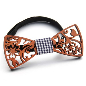 New design Cute Kids Boys Wood Bow Tie Children Butterfly Type Floral Bow ties Girl Boys Wooden Hollow Casual Bow ties