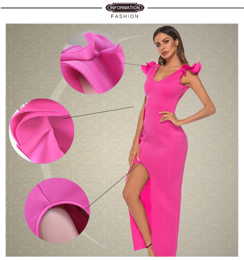 Ladies Long Party Dress Sexy Ruffle High Slit Tight African Dresses for Women Dinner Evening Maxi Slim Bodycon Tunic Femme Robe