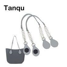 TANQU 1 Paar Lange PU leder kette Griff mit Tear Drop Ende Doppel Metall Kette für O Tasche für EVA obag Frauen Tasche
