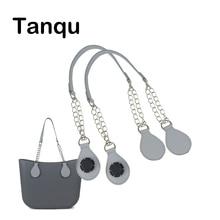 TANQU 1 زوج طويل جلد بولي chain سلسلة مقبض مع المسيل للدموع قطرة نهاية سلسلة معدنية مزدوجة ل O حقيبة ل إيفا Obag المرأة حقيبة