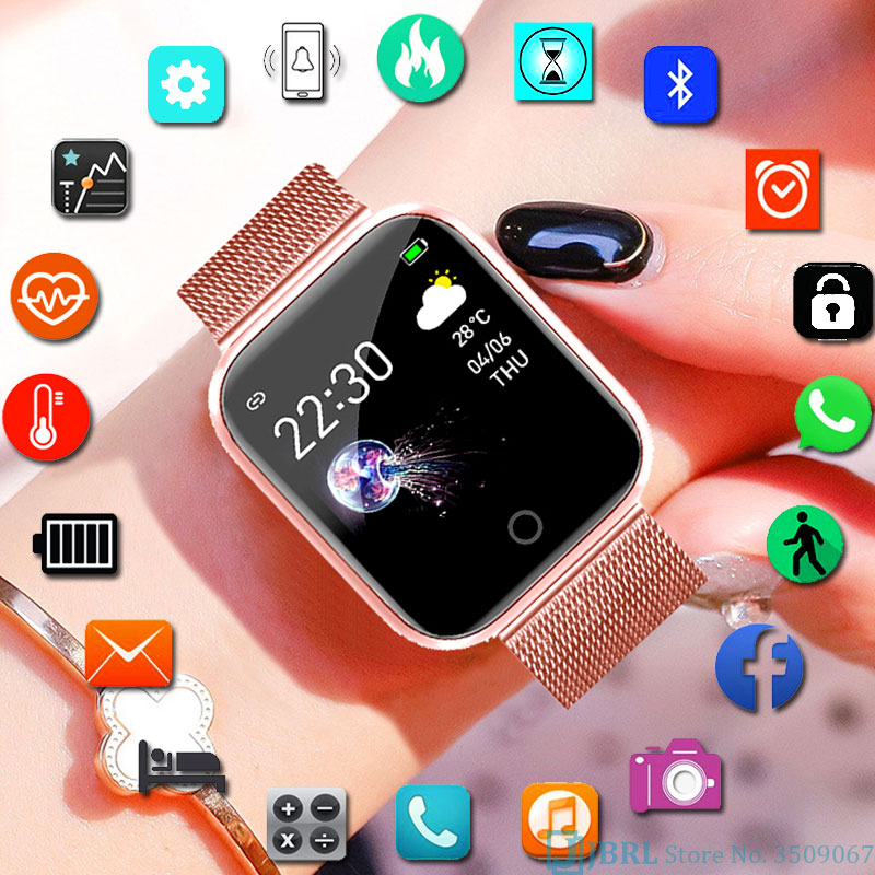 NEW Stainless Steel Smart Watch Women Men Electronics Sport Wrist Watch For Android IOS Square Bluetooth Smartwatch Smart Clock
