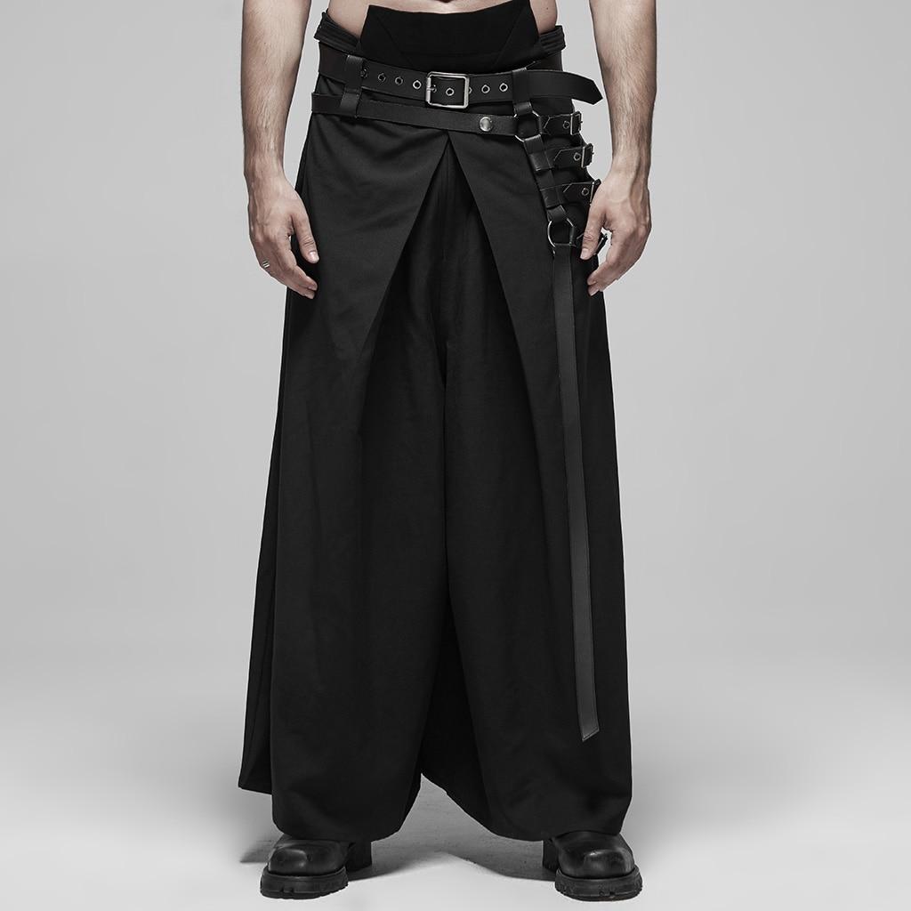 PUNK RAVE Men's Black Japanese Warrior Pants Punk Metal Kimono Hakama Style Stage Perfomance Trousers