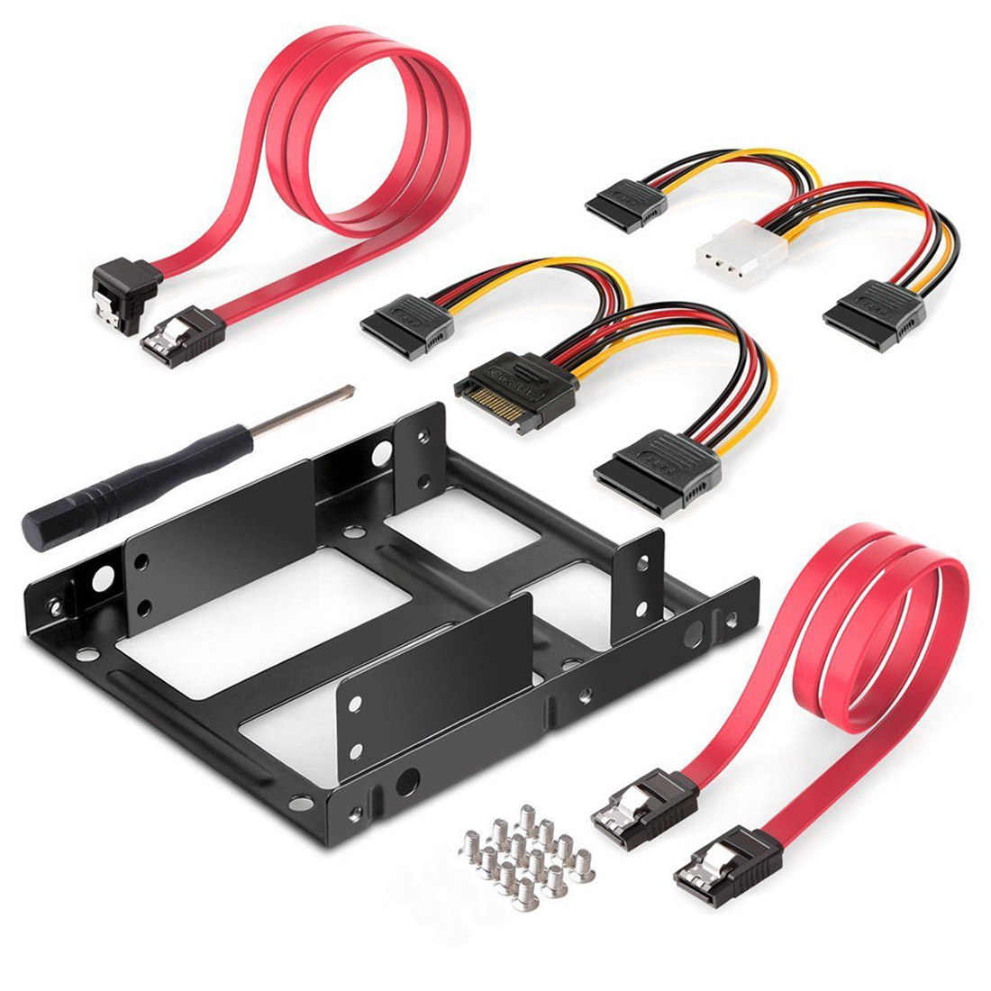 2-Bay 2.5 Inch to 3.5 Inch External HDD SSD Metal Mounting Kit Adapter Bracket With SATA Data Power Cables & Screws