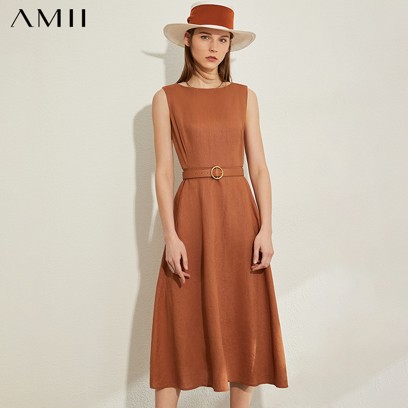AMII Minimalism Spring Summer Vintage Solid Sleeveless Women Dress Causal Lady High Waist Oneck Belt Female Dress 12030124