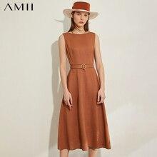 AMII Minimalism Spring Summer Vintage Solid Sleeveless Women Dress
