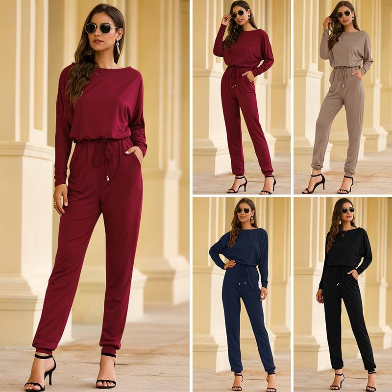 New Autumn Jumpsuits For Women Long Sleeve High Waist Loose Jumpsuit Long Slim Leg Pocket Fashion Women Clothes Solid Romper