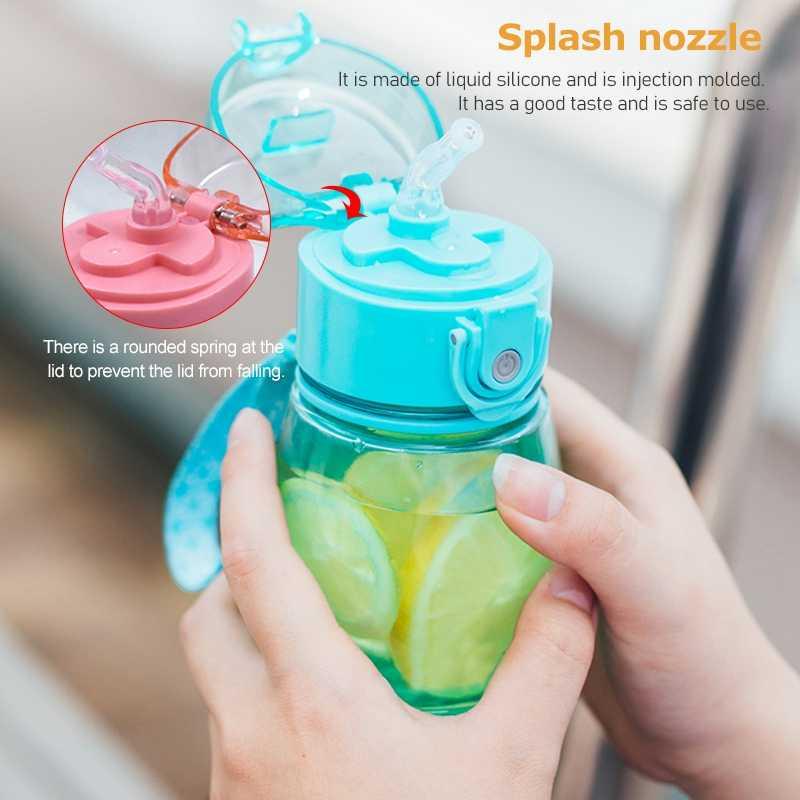 308ml Outdoor Water Fles met Stro & Deksel Veilig Drinken Stro Sippy Cap Voeden voor Kinderen Reizen Draagbare Gefilterd water Fles