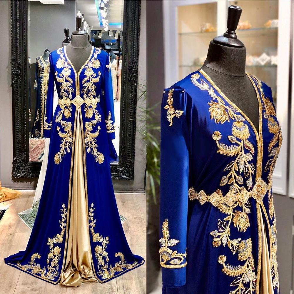 Dubai Royal Blue Evening Dresses 2020 Satin V-Neck Long Formal Gowns Gold Embroidery Crystal Muslim Evening Dress