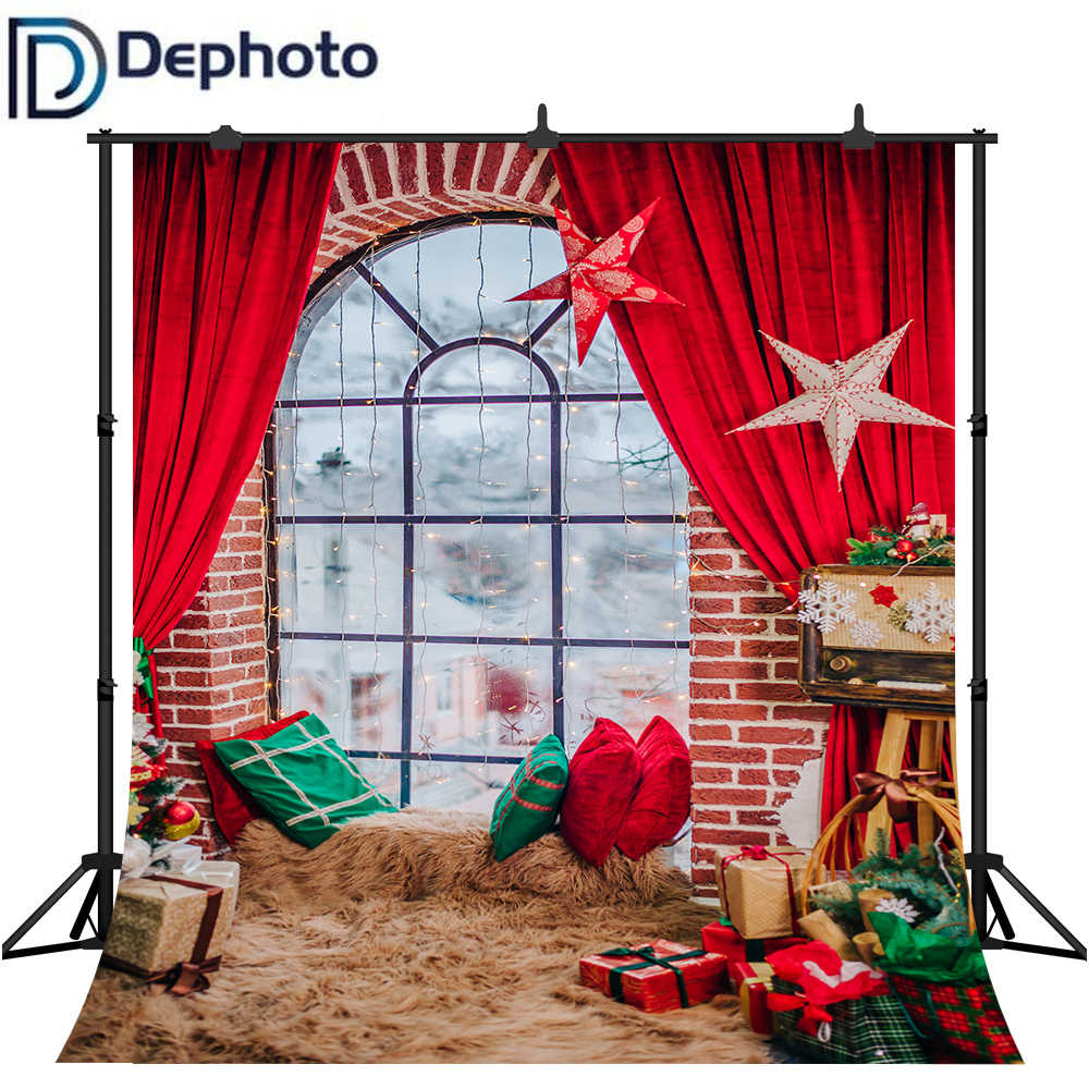 Dephoto fotografia fundos natal cortina tapete presentes do bebê fotográfico backdrops vinil photocall para estúdio de fotos