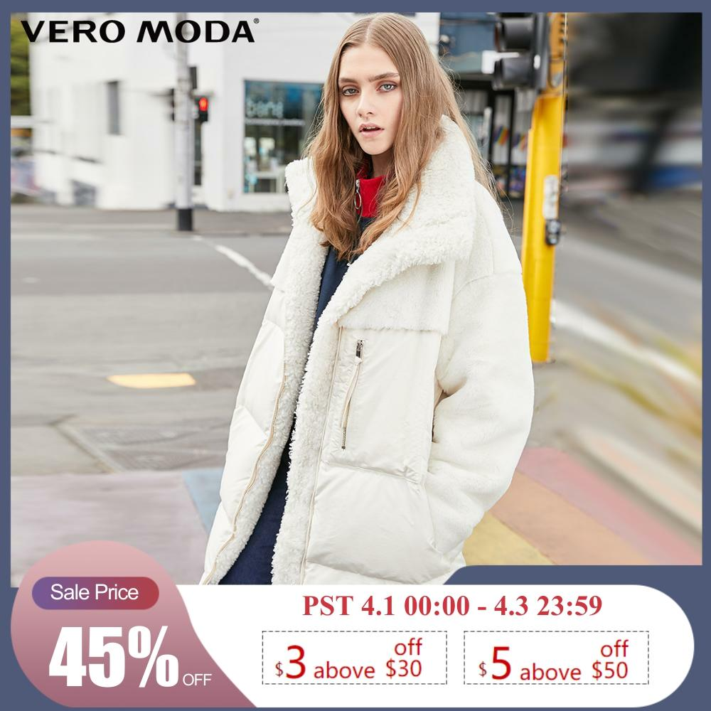 Vero Moda Women's Splicing Furry Fabric Mid-length White Duck Down Jacket | 319423518
