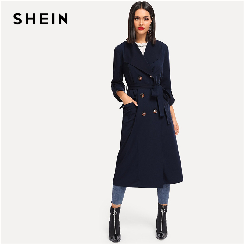 SHEIN Navy Rolled Tab Sleeve Double Breasted Belted Longline Trench Coat Women Autumn Pocket Elegant Highstreet Outerwear Coats
