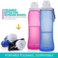 Durable Foldable Silicone Water Bottles Collapsible Leakproof Drink Kettle Silicone Foldable Travel Hiking Water Bottle|Sports Bottles| |  -