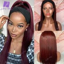 Peruca de cabelo humano borgonha seda em linha reta cabelo remy brasileiro metade perucas 180% densidade glueless para preto luffywig