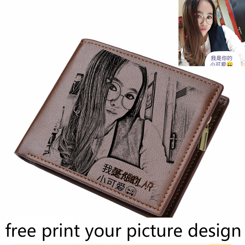Wallet Men's Short Young Students Fashion DIY Picture Customized Print Photo Lettering Printing Picture Wallet Gift Male Wallet