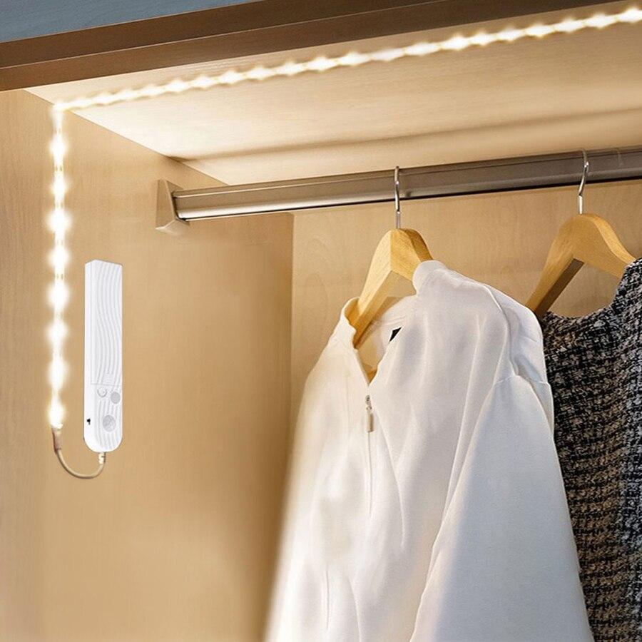 Sensor de movimiento alimentado por batería, luz LED para armario de cocina, detección de movimiento humano, dormitorio, escaleras, lámpara de noche de armario, tira de 1m - 3m