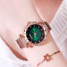 Montres magnétiques de luxe pour femmes, montre bracelet à Quartz, en acier inoxydable, pour horloge cadeau, collection 2019