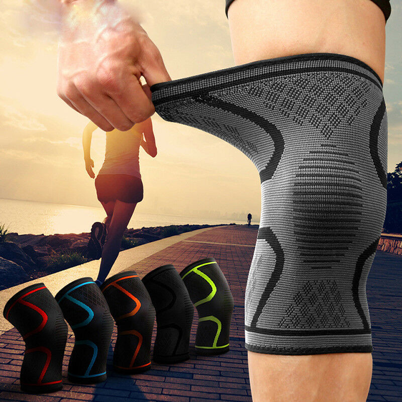 New Sport Protector Elastic Sports Knee Pads Gym Sport Basketball Running Compression Sleeve Knee Support Knee Pads M-XL