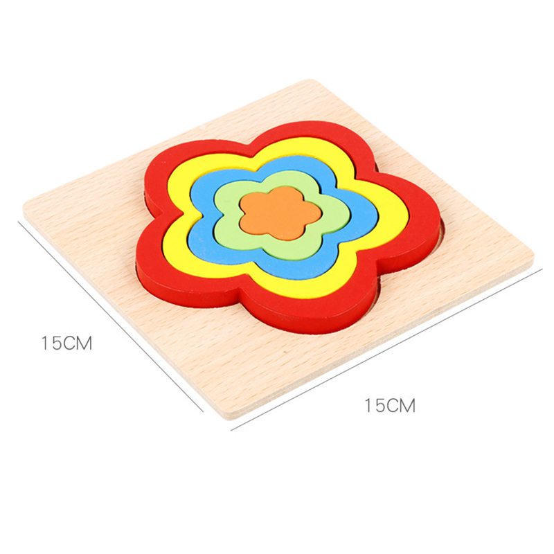 Wooden Geometric Shape Puzzle Kids Montessori Toys Educational Shape Cognition Children Jigsaw Puzzle Board Learning Sensory Toy 6