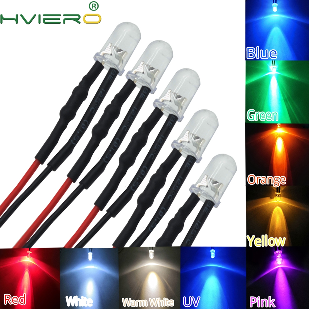 5X F5 5mm Round 20cm Pre Wired DC 12V LED Lamp Light Bulb White Red Blue Green Yellow White Warm White Diode Emitting Diodes