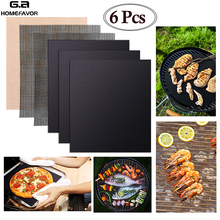 6 or 3 Pcs Non-stick BBQ Grill Mat Barbecue Grill Pads Cooking Baking Placemat Mesh Kitchen Accessories Reusable Roaster Tools