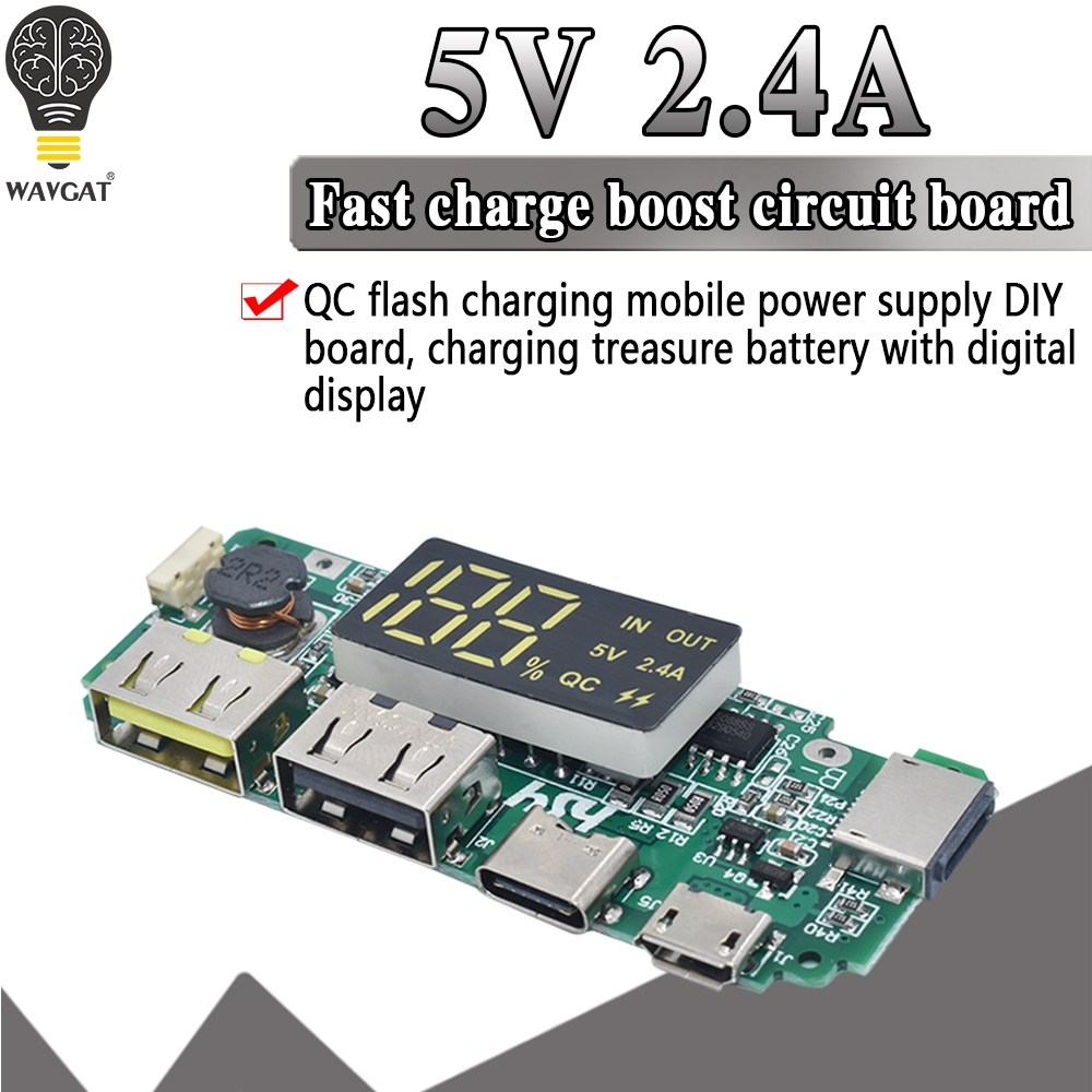 Dual USB 5V 2.4A Micro/Type-C LED USB Mobile <font><b>Power</b></font> <font><b>Bank</b></font> <font><b>18650</b></font> Charging Module Lithium Battery Charger <font><b>Board</b></font> Circuit Protection image