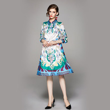 New European Style Autumn Catwalk two-piece Printed Long-sleeved Blouse Big swing Skirt Suit Fashion