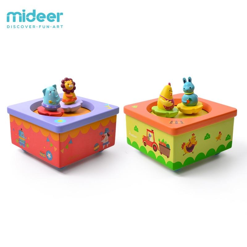 Micerf en bois créatif horloge jouets animaux rotatifs jouets musicaux heureux ferme et fantaisie cirque musique jouets pour enfants 3Y +