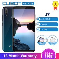 Cubot J7 5.7 Inch Android 9.0 18:9 Smartphone 2GB 16GB MT6580 Quad Core Dual Camera 2800mAh Face ID Fingerprint Mobile Phone