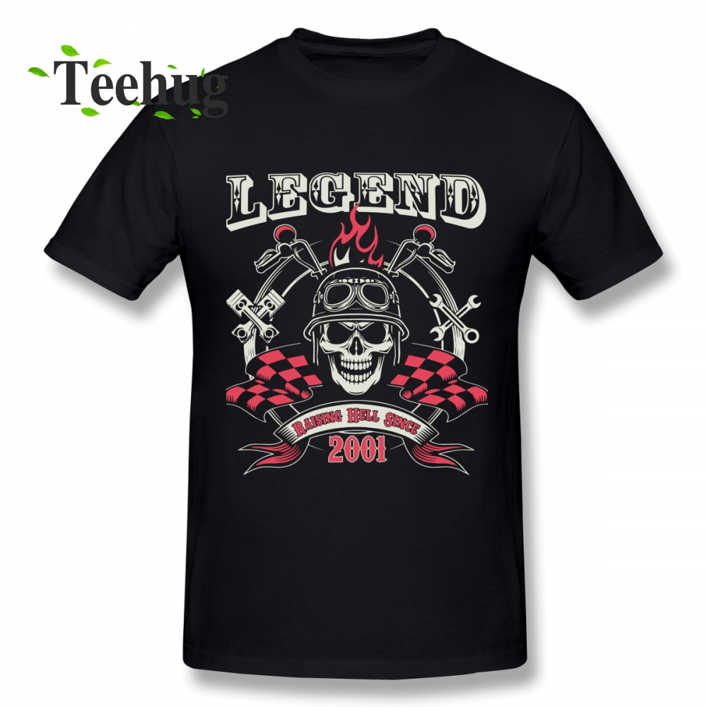 Vintage 17th Birthday Design Legend Raising Hell Since 2001 Homme Tee Shirt For Boy Streetwear Male 100% Cotton T