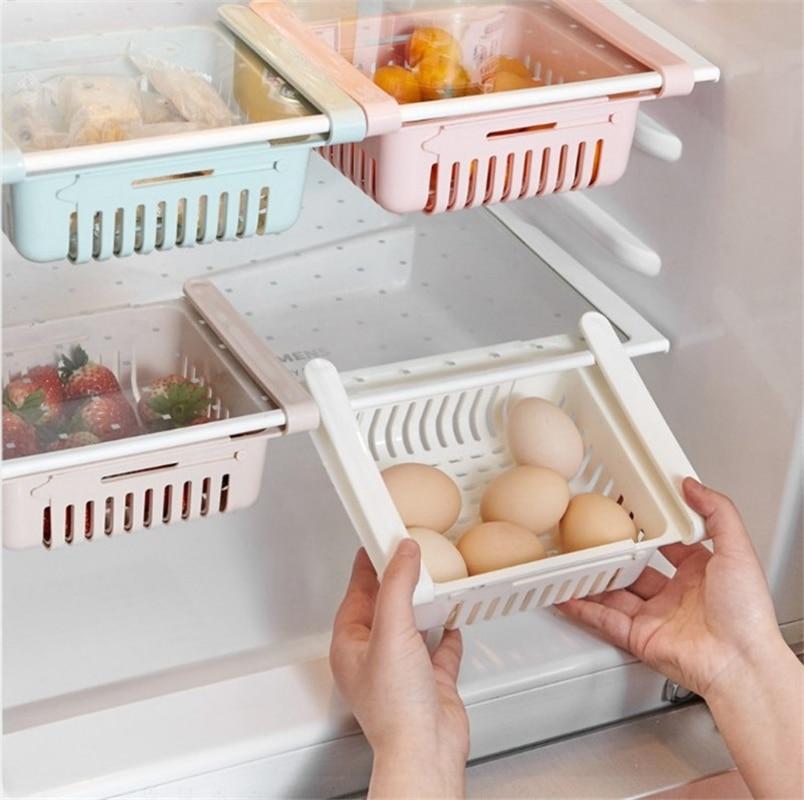 Adjustable Stretchable Kitchen Refrigerator Fresh-keeping Clapboard Multifunctional Organizer Basket Pullout Spacer Storage Rack