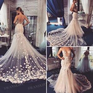 Image 2 - Swanjupe fée Appliques robe de mariée col en v 3D fleurs dos nu sirène Illusion princesse Vestido de novia SA12 robe de mariée