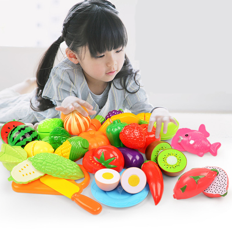 Children Kitchen Toys Plastic Fruits And Vegetables Toys Cutting Veget Fruit Toy Pretend Play Food Pizza Kitchen Kids Toys