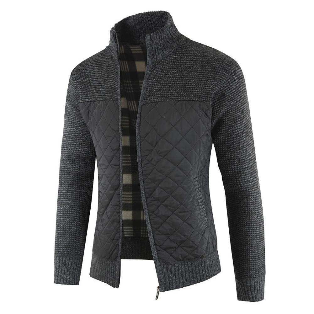 2021 Casual Men Autumn Zip Thick Knitted Sweater Pockets Warm Slim Cardigan Coat мужская куртка 1